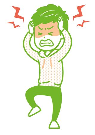 It is an illustration of a man who is irritated. Vector image.
