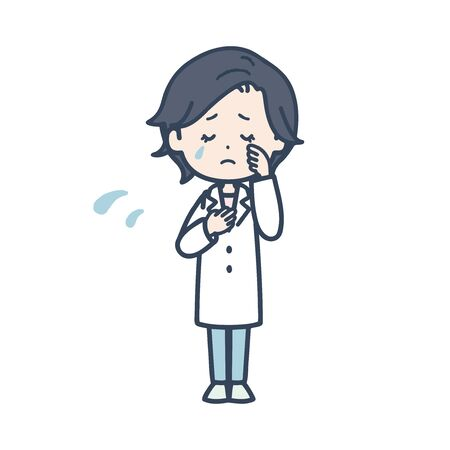 It is an illustration of a sad female doctor. Vector image.