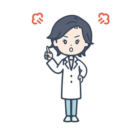 It is an illustration of angry female doctor. Vector image. Stock Illustratie