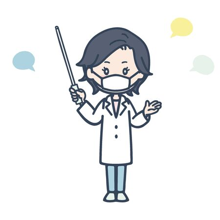 It is an illustration of a female doctor who speaks with an instruction stick wearing a mask. Vector image.