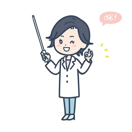 It is an illustration of a female doctor who has an instruction stick and makes an OK sign. Vector image.
