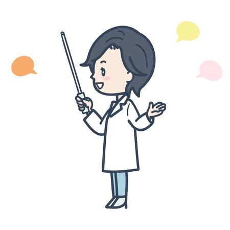 It is an illustration of a female doctor who speaks with an instruction stick. Vector image.