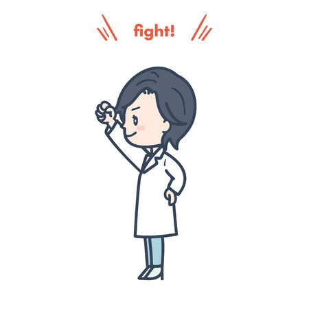 It is an illustration that a female doctor is posing guts. Vector image.