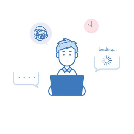 It is an illustration of a man who suffers from slow internet access. Vector image.