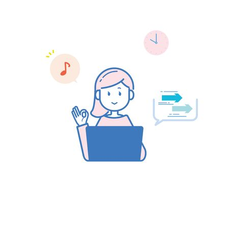 It is an illustration of a woman who works at a comfortable communication speed. Vector image. 向量圖像
