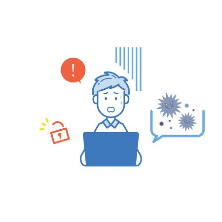 It is an an of a man who is surprised at the unauthorized access of a computer virus. Vector image.  イラスト・ベクター素材