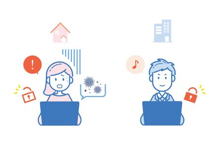This illustration shows the difference between internet security at home and at work. Vector image.  イラスト・ベクター素材