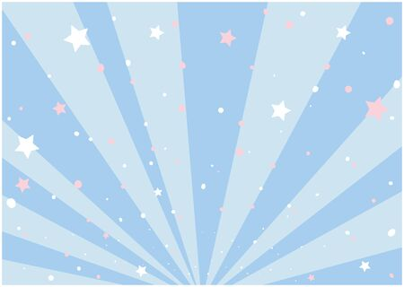 It is an illustration of a star scattered with a blue background spread radially. Vector image.