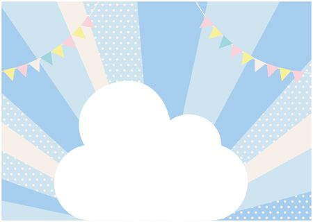 It is an illustration of garland and the cloud with a blue background which spreads radially. Vector image.