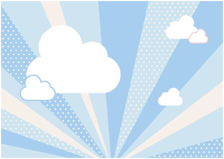 It is an illustration of a blue background and clouds spreading radially. Vector image.