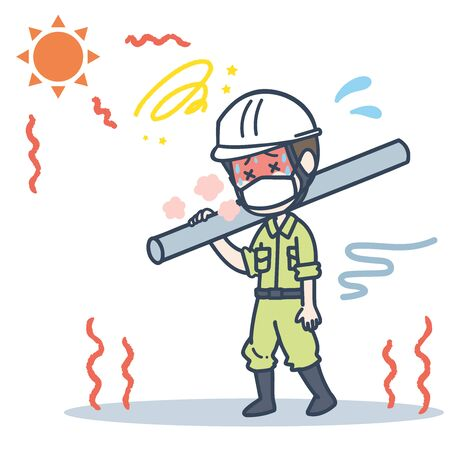 It is an illustration of a male worker who wears a mask under the blazing sun. Vector image.