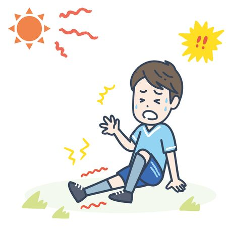It is an illustration of a male sportsman who had a fever cramp. Vector image.