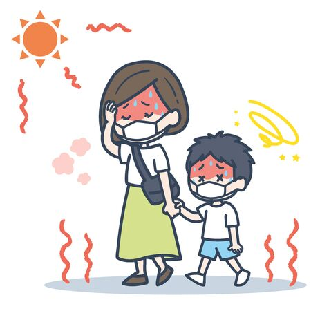 It is an illustration of the parent and child who put on the mask under the blazing sun. Vector image.