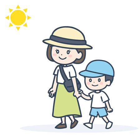 It is an illustration of the parent and child who wear a hat and take a walk. Vector image.