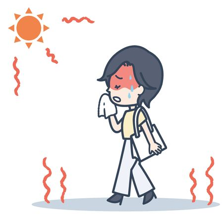 It is an illustration of the woman who worries about the sun at the time of commuting. Vector image.