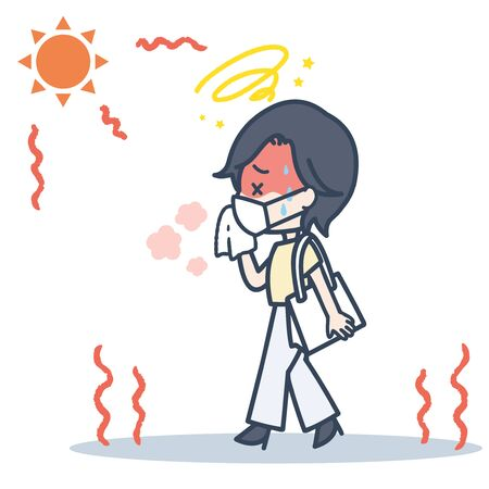 It is an illustration of the woman who commutes with a mask under the blazing sun. Vector image.