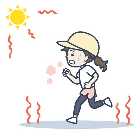 It is an illustration of the woman who runs under the blazing sun. Vector image.