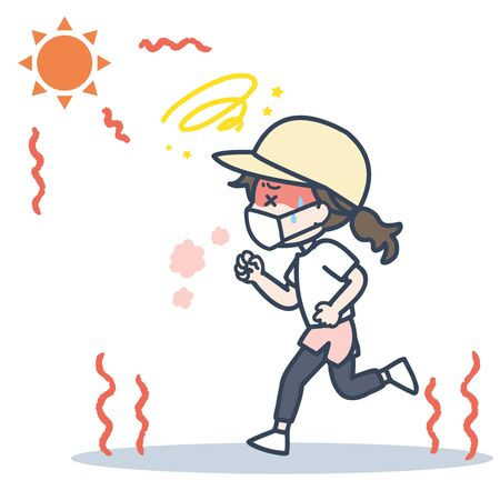 It is an illustration of the woman who runs with a mask under the blazing sun. Vector image.