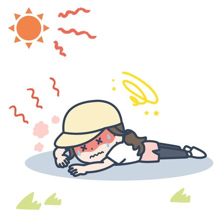 It is an illustration of the woman who falls down by exercising under the blazing sun. Vector image.
