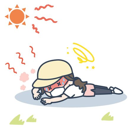 It is an illustration of the woman who exercises with the mask under the blazing sun, and falls down with heat stroke. Vector image.