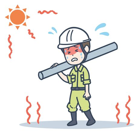 It is an illustration of a male worker who works under the blazing sun. Vector image. 向量圖像