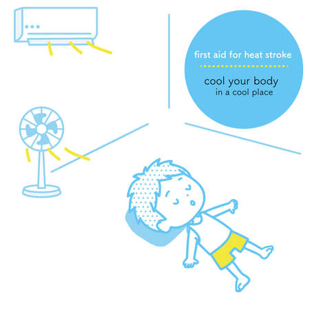 As a first aid for heat stroke, it is an illustration that cools the body and rests. Vector image.  イラスト・ベクター素材