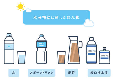 It is an illustration of the drink suitable for hydration in summer. Vector image.