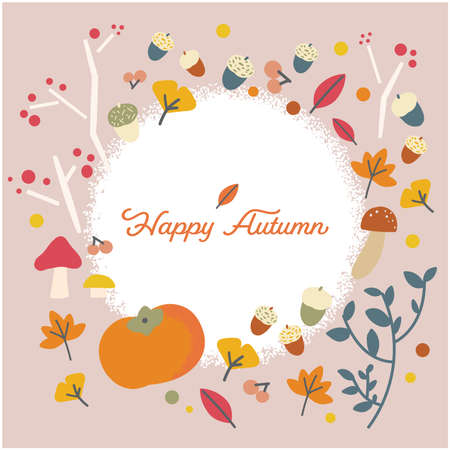 It is a frame of the illustration material which imaged autumn. Vector image.  イラスト・ベクター素材