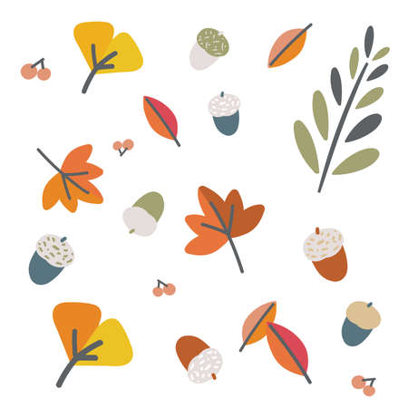 It is an illustration of autumn leaves and acorns. Vector image.