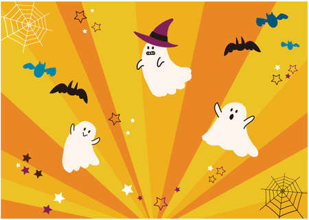 It is an illustration of Halloween and a background that spreads radially. Vector image.