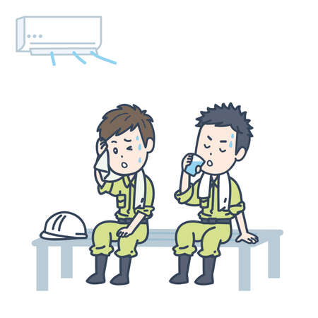 It is an illustration of two male workers taking a rest in a cool place. Vector image.