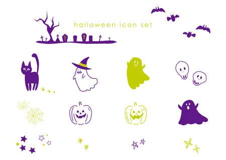 It is an icon set of Halloween illustrations.Vector image.