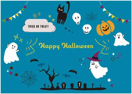 It is an illustration material set of Halloween.Vector image. Stock Illustratie