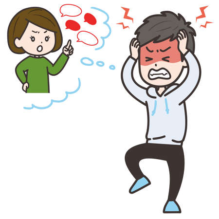 It is an illustration of the man who is irritated when it is complained by the woman. Vector image.