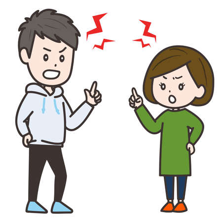It is an illustration of a man and a woman arguing. Vector image.