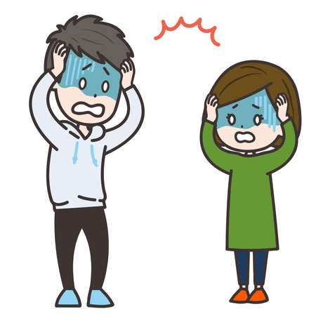 It is an illustration of a man and a woman who panic. Vector image.
