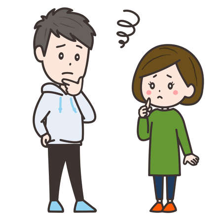 It is an illustration of a troubled man and woman. Vector image.