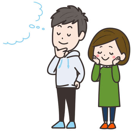 It is an illustration of the man and woman who are imagining. Vector image.