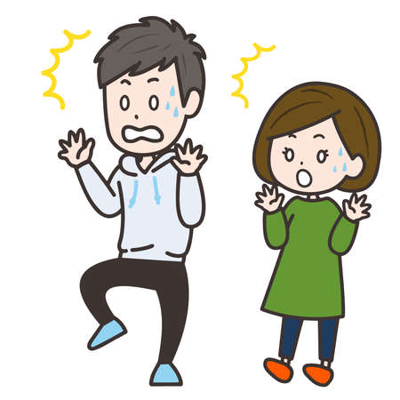 It is an illustration of a man and a woman who is surprised. Vector image.