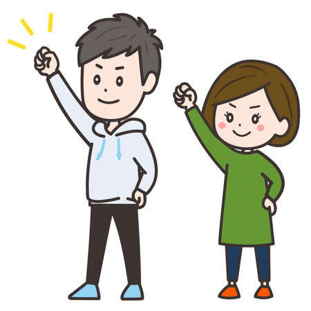 It is an illustration of a man and a woman to guts pose. Vector image.