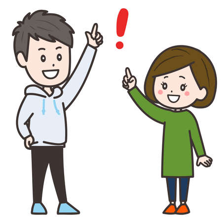 It is an illustration of a man and a woman who draw a good idea. Vector image.