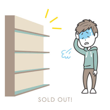 It is an illustration of a man who sighs when he sees a sold-out state. Vector image. Stock Illustratie
