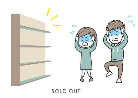 It is an illustration of the married couple who is surprised at the sold-out, and panicks. Vector image.
