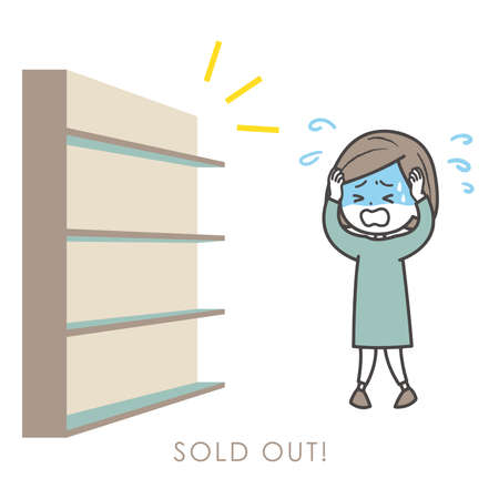 It is an illustration of the woman who is surprised at the sold-out, and panics. Vector image. Stock Illustratie