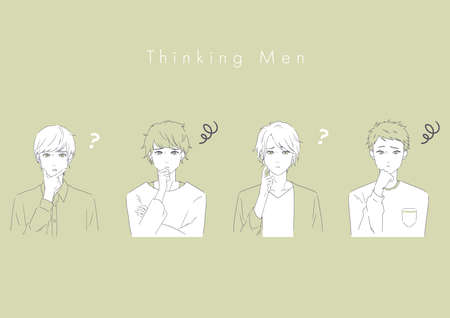 It is an illustration of four handsome men who are troubled. Vector image.