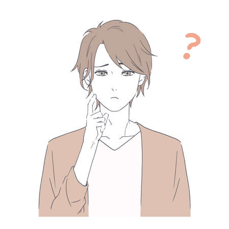 It is an illustration of a handsome man who is troubled. Vector image.