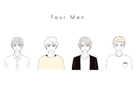 It is an illustration of four handsome men. Vector image.