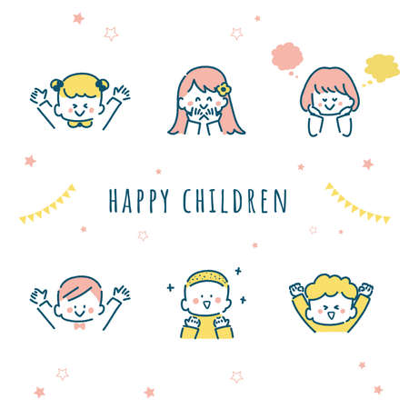 It is an illustration of children who seem to be happy. Vector.