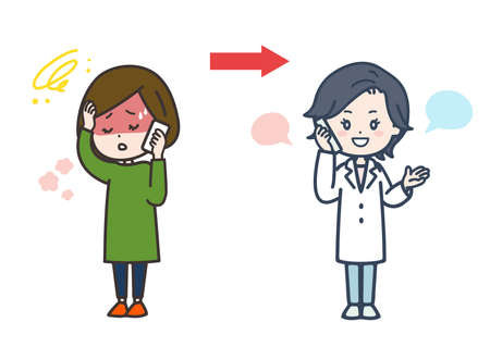 Illustration of a woman consulting her family doctor. Vector.
