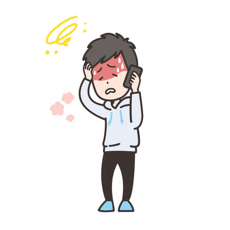 Illustration of a man complaining of ill health on the phone. Vector.